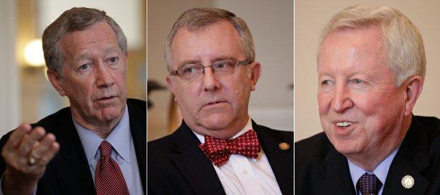From right, Senate vice president, John Vratil, R-Leawood, Senate Majority Leader Jay Emler, R-McPherson, and Senate president Steve Morris, R-Hugoton.