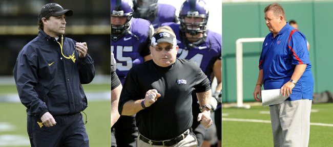 West Virginia coach Dana Holgorsen, left, TCU coach Gary Patterson, center, and KU coach Charlie Weis are going through their first spring