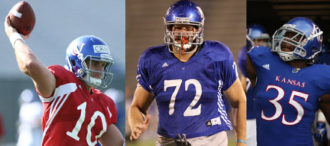From left to right: Kansas University quarterback Dayne Crist, left tackle Tanner Hawkinson and defensive end Toben Opurum will be counted on to lead their teammates on and off the field as KU's 2012 team captains, coach Charlie Weis announced Tuesday, April 24, 2012.