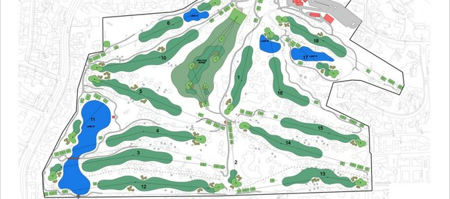 This illustration shows Lawrence Country Club, which April 27-29 will host the Big 12 Women&#39;s Golf Championships.