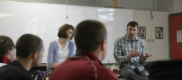 Jake Thibodeau, works with autism students at both Lawrence and Free State high schools, and is loved by his students for his funny and energetic personality. Pictured at left, during a recent class at Lawrence High school is co-teacher Susie Micka.