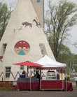 The famous Lawrence landmark structures at Teepee Junction, at the intersection of U.S. Highways 24-59 and 24-40., are now the site of the Lawrence Flea market, which will take place the first Saturday of each month. The first one of the season was in April.