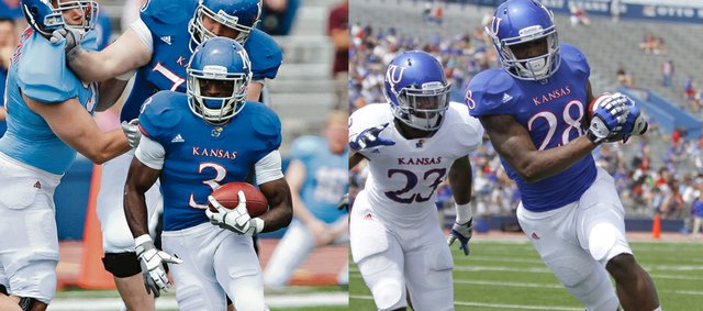 Marquis Jackson (28) had 10 carries for 76 yards, while Tony Pierson (3) had seven carries for 141 yards in Saturday's spring game.