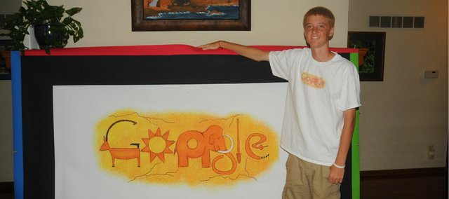 Baldwin High School senior Tucker Brown, 17, is the Kansas state winner of a Doodle 4 Google competition and will travel later this month to New York City for the contest's finals.