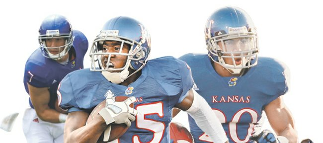 Kansas University seems to have plenty of candidates at wide receiver. Veterans Kale Pick (7), Daymond Patterson (15) and D.J. Beshears (20) seem to have emerged as front-runners from a pack that includes JaCorey Shepherd (89), Chris Omigie (83) and Christian Matthews (12), among others.