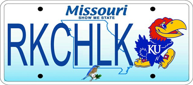 Missouri residents may have the option of getting personalized license plates displaying their Kansas University loyalties. This Journal-World photo illustration shows what the KU plates might look like if the logo was placed on the current Missouri license plate.