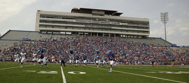 Kansas receiver D.J. Beshears takes off for a touchdown on a reverse during the first half of the Spring Game on Saturday, April 28, 2012 at Kivisto Field.