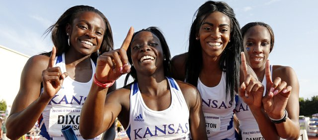 Kansas' 4X400 relay team of, from left, Diamond Dixon, Denesha Morris, Taylor Washington and Paris Daniels, won the event Sunday at the Big 12 Outdoor. KU's women placed second overall — the highest conference finish in KU women's history — and the men tied for seventh in Manhattan.
