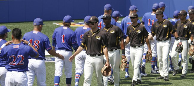 The Kansas Jayhawks and the Missouri Tigers shake hands after the Tigers' 6-3 win over KU on Saturday, May 19, 2012, at Hoglund Ballpark. Saturday's game was the last game in the Kansas and Missouri baseball series, as the Tigers are leaving the Big 12 after this year to join the Southeastern Conference.