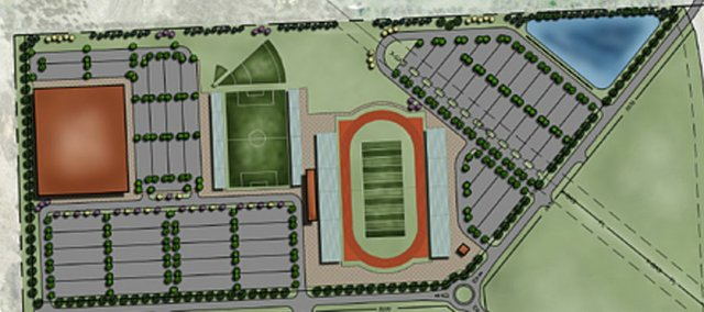 A rendering provided by the city of Lawrence of what a recreation center northwest of town might look like.