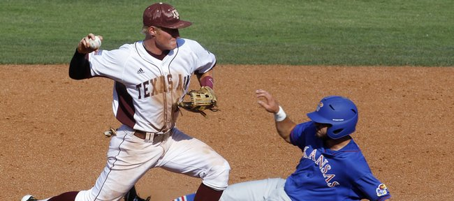 Texas A&M second baseman Scott Arthur, left, forces out Kansas' Dakota Smith, right, on a fielder's choice hit by Jake Marasco in the seventh inning of a Big 12 conference tournament baseball game in Oklahoma City on Wednesday, May 23, 2012. Texas A&M won, 10-4.