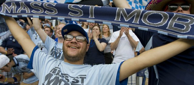 Jonas Nordman, Lawrence, cheers during the Sporting KC match against Montreal Saturday, May 5, 2012.