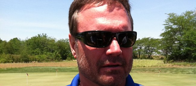 Kansas basketball coach Bill Self meets the press after participating in the Otto Schnellbacher Classic on Friday, June 8, 2012, in Mayetta.