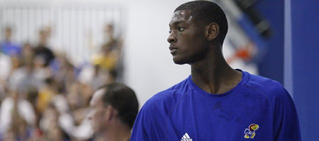Kansas University newcomer Milton Doyle works out with the Jayhawks for the first time during Bill Self's basketball camp on Monday, June 18, 2012, at the Horejsi Center.