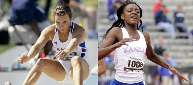 Kansas University track athletes Andrea Geubelle, left, and Diamond Dixon advanced to the finals of the U.S. Olympic team trials on Saturday, June 23, in Eugene, Ore. Geubelle finished fourth in the triple jump, while Dixon took third in her heat of the 400 meters.