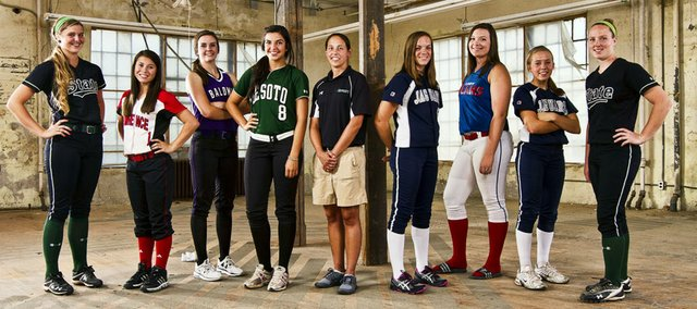 2012 Lawrence Journal-World All Area Softball Team, from left, Sam O&#39;Brien, Free State, Marly Carmona, Lawrence High, Madeline Brungardt, Baldwin, player of the year Sophia Templin, De Soto, coach of the year Junelle Woolery, De Soto, Jillian Jobe, Mill Valley, Lakin Thompson, Oskaloosa, Kelli Spring, Mill Valley, Courtney Parker, Free State.