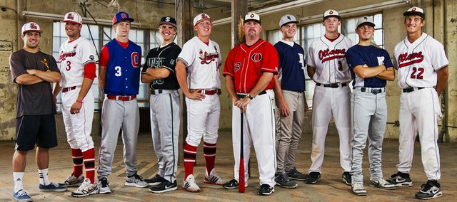 2012 Lawrence Journal-World All-Area Baseball Team, from left, Troy Willoughby, Lawrence High, CJ Roush, Lawrence High, Seth Steward, Oskaloosa, Sam Hearnen, Free State, player of the year Garrett Cleavinger, Lawrence High, coach of the year Shawn Herrmann, Ottawa, Tyler Moore, Mill Valley, Connor Goedert, Ottawa, Jacob Spring, Mill Valley, Kaden Shaffer, Ottawa.