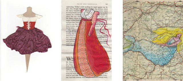 "Examples of Liza MacKinnon's ""Dress a Day"" project, which will be shown at the Lawrence Public Library for June's Final Fridays."