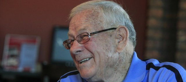 Former Kansas baseball coach Floyd Temple talks about his years of coaching the Jayhawks in this 2009 file photo. Temple died Friday at age 85.