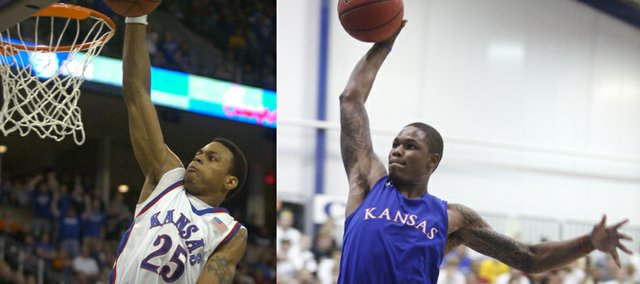 "High-flying Kansas University swingman Ben McLemore, right, has drawn comparisons to former KU star Brandon Rush, left. Rush's teammate at KU, Brady Morningstar, said ""Ben has a chance to be a really good player if he wants to be, because of how athletic he is and how long his arms are. ... to me they're about the same player coming into Kansas."""