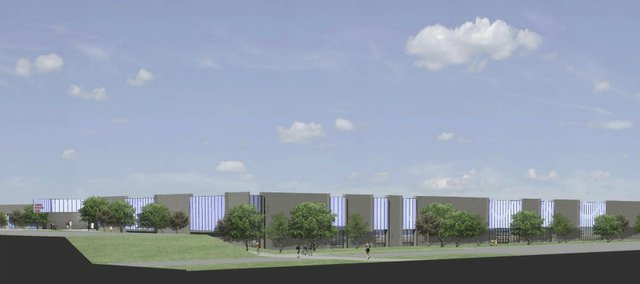 This architect rendering of the proposed recreation center in northwest Lawrence shows the 172,000-square-foot fieldhouse. The drawing was provided by Paul Werner Architects and GouldEvans.