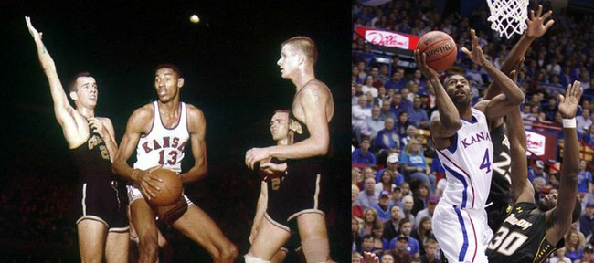 Current Kansas University forward Justin Wesley (4) will play KU legend Wilt Chamberlain (13) in an upcoming movie by  Lawrence filmmaker and KU faculty member Kevin Willmott.