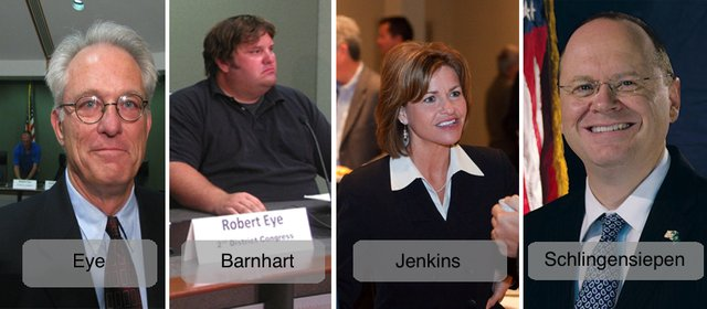 Candidates vying to represent the Kansas 2nd District in Congress are, from left, Bob Eye (D-Lawrence), Scott Barnhart (D-Ottawa), Rep. Lynn Jenkins (R-To