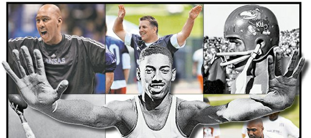 The Journal-World staff selections for greatest Kansas University athletes of all time are, clockwise from top left, Danny Manning, Ray Evans, Gale Sayers, Isaac Byrd, Todd Reesing, Lynette Woodard, Jim Ryun, Otto Schnellbacher and, in the center, unanimous pick Wilt Chamberlain.