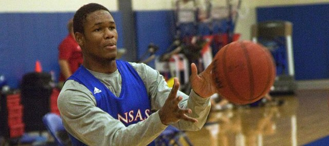 Kansas University freshman Ben McLemore scrimmages with his KU teammates on Saturday, August 4, 2012, at the Jayhawks' practice facility near Allen Fieldhouse. McLemore tweaked a hip-flexor early in the practice, but should be ready to play when KU begins its European exhibition on Tuesday.