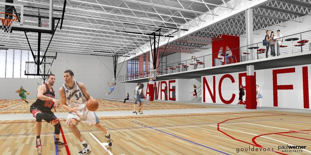 The Lawrence City Commission got a look at new renderings on Tuesday of a proposed recreation center in northwest Lawrence, including this one that illustrates the basketball courts inside a 181,000 square foot fieldhouse. Plans for the facility have been developed by Lawrence-based Paul Werner Architects and GouldEvans architects.