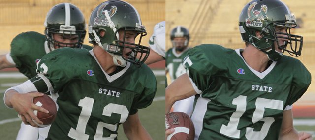 Free State teammates Joe Dineen (12) and Kyle McFarland (15) share more than just their positions on the football field — quarterback and defensive back. The two Firebirds also have a common link to the past — both their grandfathers played at Kansas University.