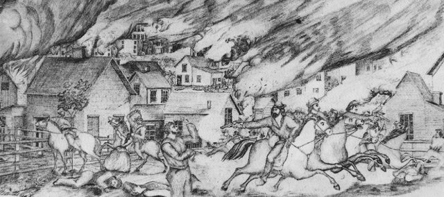 This is thought to be one of the most accurate sketches of Quantrill's Raid because the artist, Sherman Enderton, was actually present for the raid.