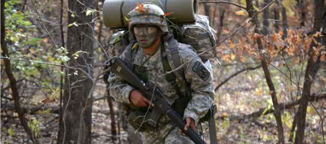 Kansas University ROTC Cadet Andrew Acosta participates in a training session during the fall semester 2011 at Fort Leavenworth. Army ROTC cadets train at both Fort Leavenworth and Fort Riley during the year.
