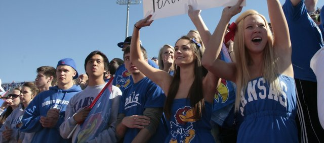 Kansas University fans cheer for the Jayhawks during the homecoming game against Texas Tech on Saturday, Oct. 1, 2011, at Memorial Stadium.