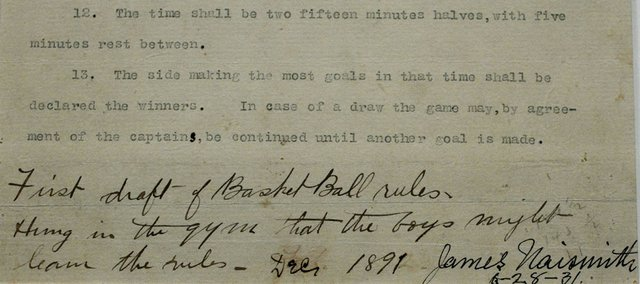 "A date and signature by James Naismith are seen at the bottom right of the final page of his original rules of ""Basket Ball,"" at the Nelson-Atkins Museum of Art on Friday, March 4, 2011, in Kansas City, Mo. David Booth and family purchased the rules at a Sotheby's auction for more than $4 million."