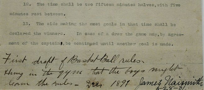 "A date and signature by James Naismith are seen at the bottom right of the final page of his original rules of ""Basket Ball,"" at the Nelson-Atkins Museum of Art on Friday, March 4, 2011,"