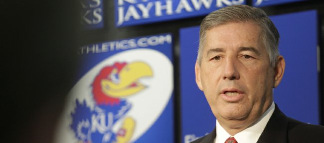 Big 12 Commissioner Bob Bowlsby made a visit to the Kansas University campus on Thursday, Aug. 23., 2012, one of nine stops he hopes to make during a 14-day span as he gets the lay of the lan