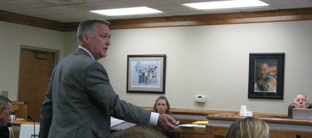 Attorney Arthur Chalmers, representing the state, speaks during closing arguments in school finance lawsuit on Wednesday.