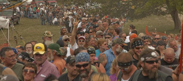 Lined up for tickets, hundreds of bikers descended on Paradise Point  at Perry Lake on Friday for the 37th annual ABATE of Kansas Labor Day Rally.