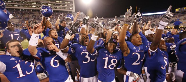 The Kansas Jayhawks come together to sing the Alma Mater following their 31-17 win over South Dakota State, Saturday, September 1, 2012 at Memorial Stadium.