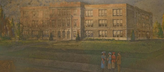 This painting, found in 2005, is the original architectural rendering of Liberty Memorial High School. The painting is pictured here after the first of three phases of restoration.