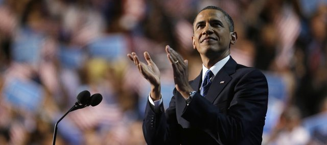 President Barack Obama addresses the Democratic National Convention in Charlotte, N.C., on Thursday, Sept. 6, 2012. (AP Photo/David Goldman)