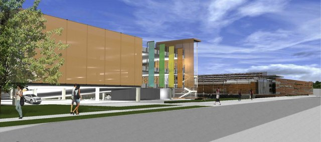 The parking garage to be built south of the renovated Lawrence Public Library is shown in this architect's rendering. The garage will hold 250 cars. Its design incorporates a space to hang banners.