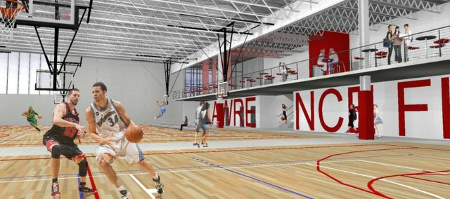 A rendering of the basketball court at the proposed rec center in northwest Lawrence.
