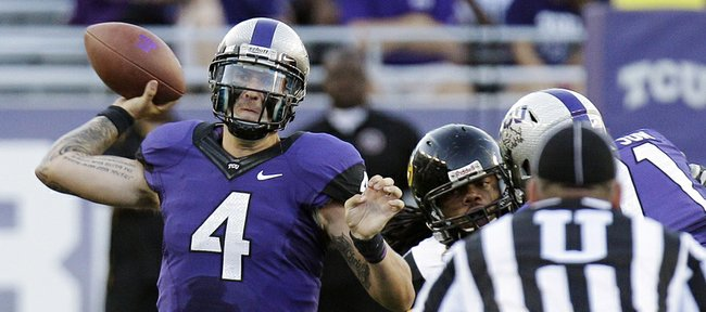TCU quarterback Casey Pachall throws during the first half against Grambling State on Saturday, Sept. 8, 2012, in Fort Worth, Texas. Pachall went 9-for-9 for 201 yards in just two quarters of the Horned Frogs' eventual 56-0 rout.