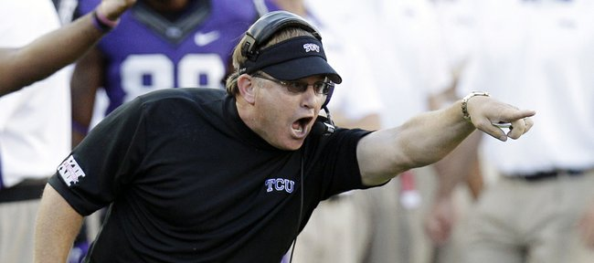 TCU coach Gary Patterson yells from the sideline during the first half of TCU's game against Grambling State on Sept. 8 in Fort Worth, Texas. Patterson and the Horned Frogs will make their Big 12 Conference debut today at Kansas University.