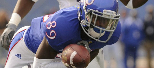 Kansas wide receiver JaCorey Shepherd (89) hauls in a pass against Kansas State on Saturday, Oct. 22, 2011, at Memorial Stadium. Shepherd was a receiver last year, but he since has switched sides and is climbing the depth chart at cornerback.