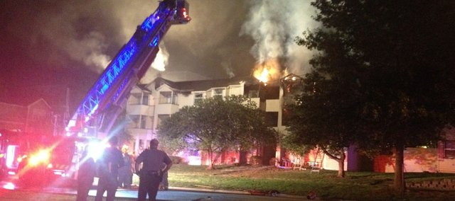 Lawrence firefighters were called at 10:16 p.m. Wednesday to a blaze at Berkeley Flats apartments, just south of 11th and Indiana streets.