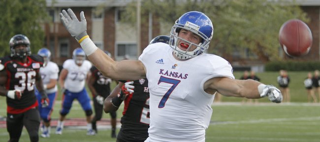 A pass to Kale Pick falls just out of reach on a fourth-and-17 attempt in the second half of KU's 30-23 loss to the Northern Illinois Huskies on Saturday, Sept. 22, 2012, at Huskie Stadium in DeKalb, Ill.