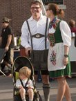 Randy Stotler and Andrea Brookfield, with son Nikolaus Stotler, attend Oktoberfest in German attire Saturday.